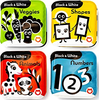 BabyBibi Bath Books – Set of 4 Black and White Waterproof Books – Makes Fun Squeaking Noise - Encourages Early Development...