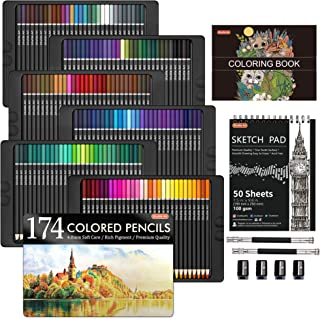 174 Colors Professional Colored Pencils, Shuttle Art Soft Core Coloring Pencils Set with 1 Coloring Book,1 Sketch Pad, 4 S...