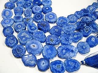 Tanzanite Solar Quartz Druzy Stalactite Slice Beads / Natural Mossy Stone Druzy 20 to 30mm Sizes / Sold per strand 10 inch Long
