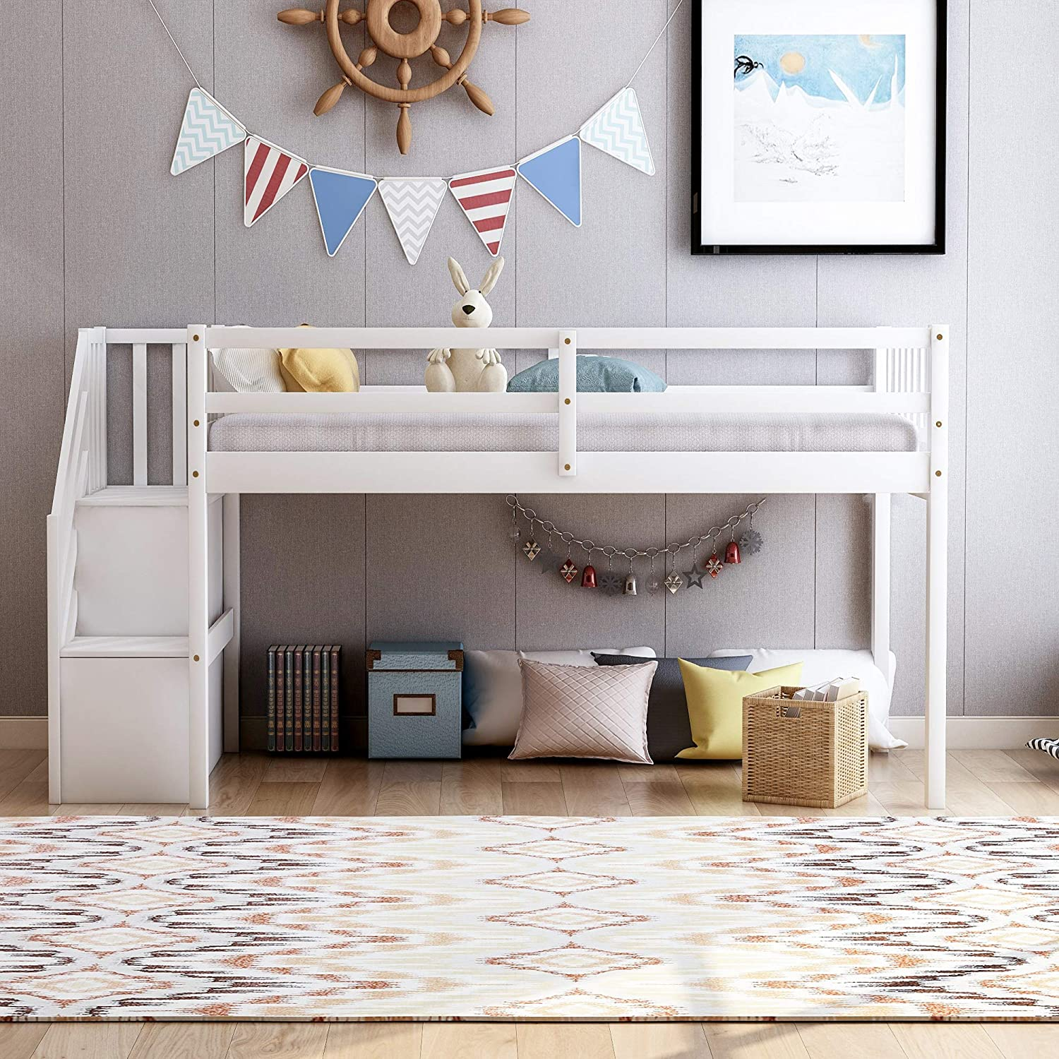 Wood Low Loft Bed Frame with Guardrails for Kids Teens Gray Twin Loft Bed with Stairs and Storage Shelves