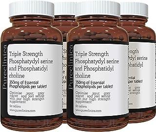 Triple Strength PHOSPHATYDYL Serine and PHOSPHATIDYL Choline x 240 Tablets (4 Bottles of 60 Tablets) SKU: PHOSx4
