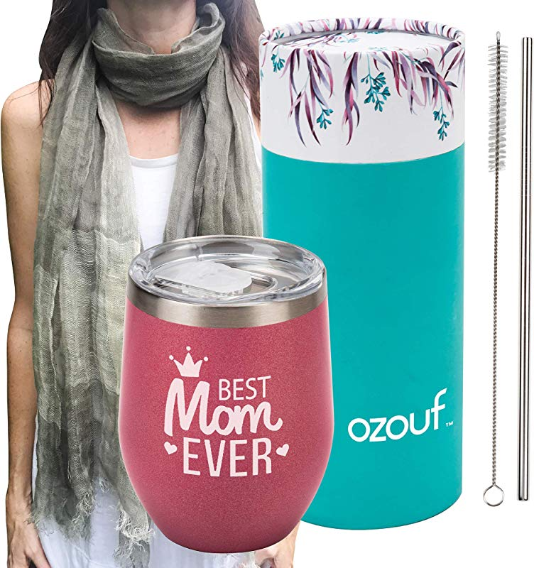 Best Mom Ever Wine Tumbler Plus 100 Linen Scarf Funny Wine Glasses For Women Mom Birthday Gifts Birthday Wine Glass Insulated Tumbler With Straw Pink