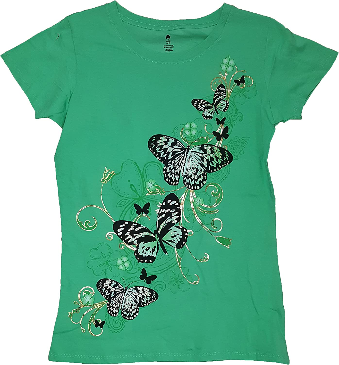St. patrick's day Lucky Flutter Butterflies Green Graphic TShirt