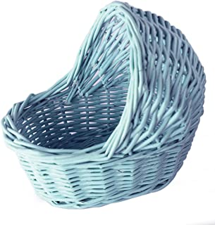 (Blue) - Willow Cradle Baby Shower Boy Basket in Blue - 19cm L x 19cm H, Small
