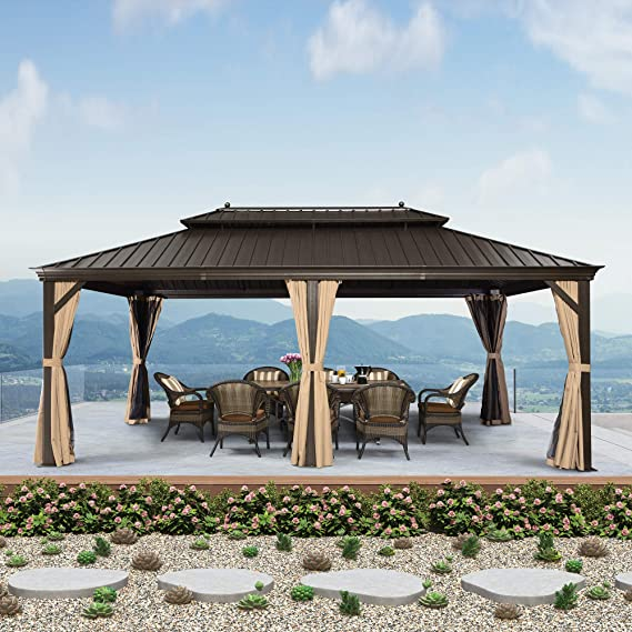 PURPLE LEAF  Outdoor Gazebo with Nets & Curtains 12' X 20'