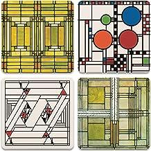 قواعد أكواب حجري ماصة للحجار، فرانك لويد رايت، تصميمات زجاجية فنية، ألوان متعددة