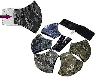 Cubrebocas Tela Algodón (5) Tricapa GRANDE (Recomendado para personas de cara grande) 3 capas (5 piezas) + 2 salva orejas,...