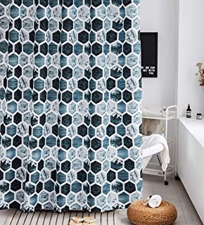 Shower Curtain Set Gray Marble Fabric Shower Curtain Heavy Duty Bathroom Curtains for Bathtubs Geometric, 72 by72 Inch(Grey/Navy/Aqua)