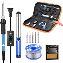 Soldering Iron Kit, [Upgraded] 60W Adjustable Temperature Welding Tool with ON-OFF Switch, Rarlight Soldering Kits, 5pcs S...