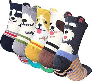 4-5 Pairs Womens Cute Animal Socks Dog Cat Fun Cotton Casual Crew Funny Socks
