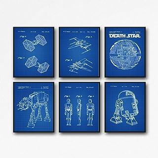 Star Wars Prints - Juego de 6 pósteres de patente de Star Wars WB121, 11,7 x 16,5 (A3), Blueprint