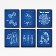 Star Wars Prints - Juego de 6 pósteres de patente de Star Wars WB121, 12 x 16, Blueprint