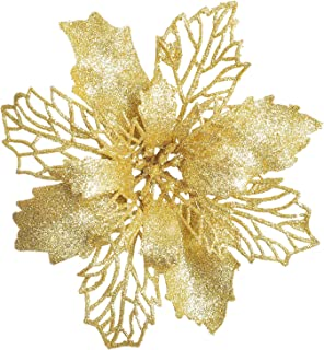 Best Artiflr 16 Pcs Christmas Poinsettia Flowers, Artificial Flowers Glitter Poinsettia Christmas Wreath Christmas Tree Ornaments for Christmas Decorations, Gold Review