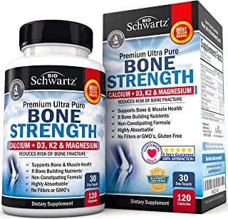 Bone Strength Supplement with Calcium + D3, K2 & Magnesium - Highly Absorbable Vitamin Blend for Bone & Muscle Support - N...