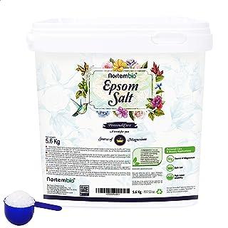 Nortembio Sal de Epsom 5,6 Kg. Fuente Concentrada de Magnesio. Sales 100% Puras. Baño y Cuidado Personal.