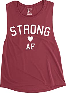 Strong AF Women's Muscle Tank Top Burgundy