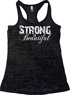 Womens Workout Tank Tops - Strong is Beautiful - Tanks with Saying