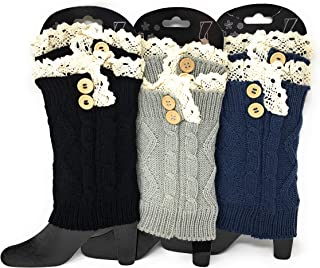 Urban-Peacock Womens Knitted Boot Socks/Boot Cuffs/Leg Warmers - 3 Pair Packages - Multiple Colors Available