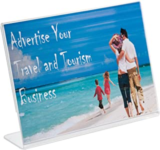 Clear-Ad - LHA-75 - Acrylic Slanted Sign Holder 7x5 - Plexiglass Table Menu Card Display Stand - Plastic Picture Frame Wholesale (Pack of 100)