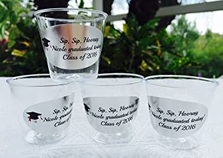 50 PERSONALIZED 1oz. PLASTIC SHOT Cups for Bar at Wedding, or any Party/Event, SILVER FOIL DECORATION, Disposable cups makes great party favors or supply!