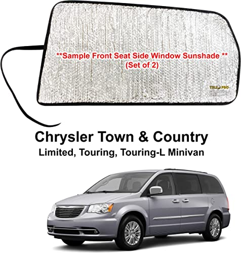 discount YelloPro Side Window Rear Seat Sunshade (Set of 2) Custom Fit high quality for 2008 2009 2010 2011 2012 2013 2014 2015 2016 2017 2018 Chrysler Town & Country Limited, Touring, Touring-L Minivan (Made online sale in USA) outlet online sale