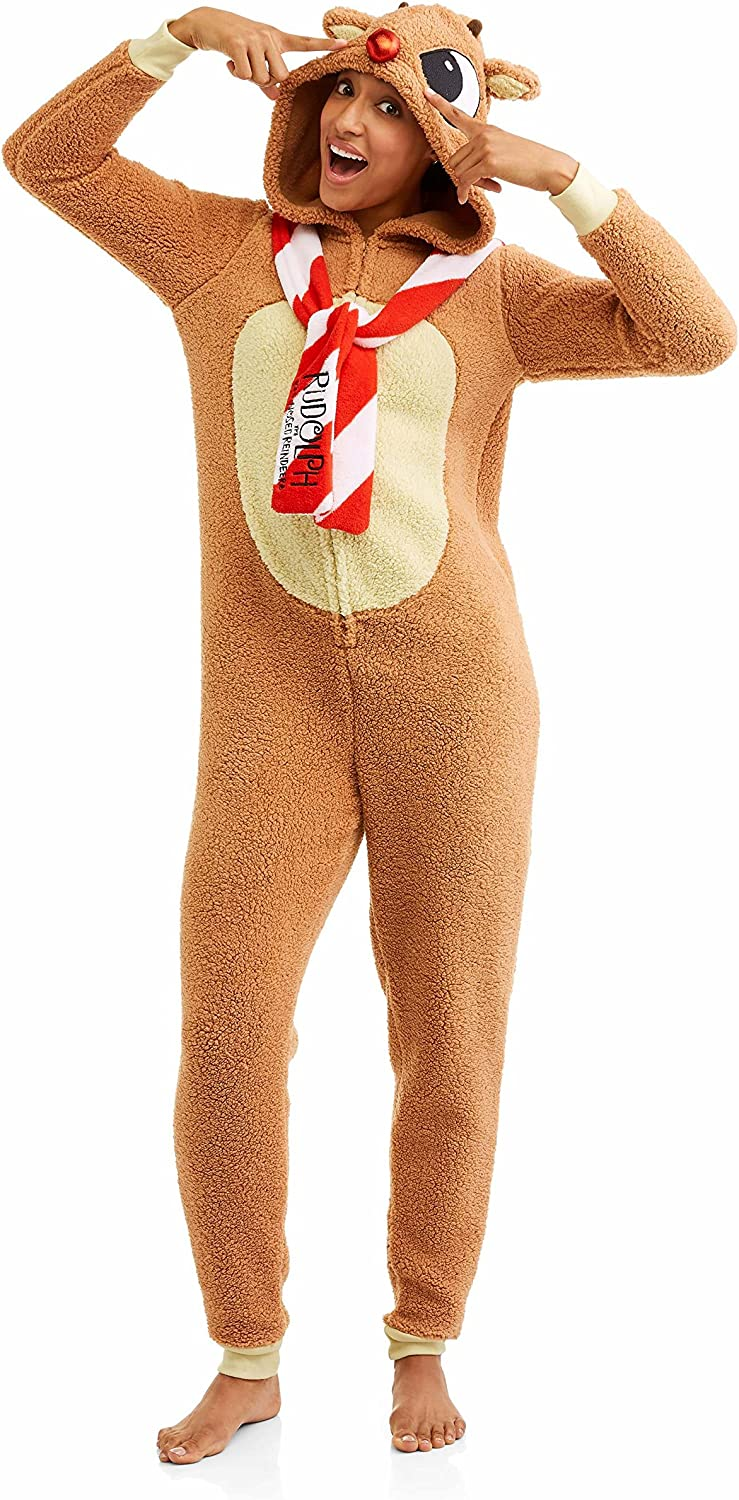Rudolph the Red Nosed Reindeer Women's Holiday License Pajama Unison Suit