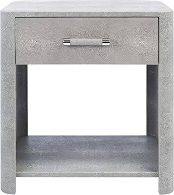 Safavieh Couture Home Collection Sawyer Faux Shagreen 1-Drawer Nightstand, Grey/Silver