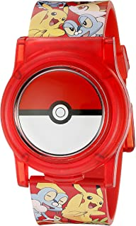 Pokemon Kids Digital Watch with Flashing LED Lights and Flip Open Top Model: POK4186AZ