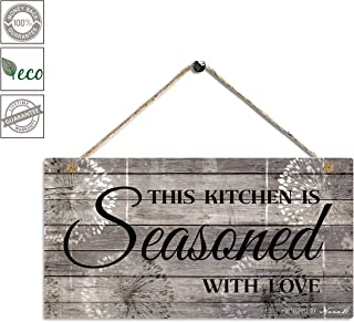 Farmhouse Kitchen Decor, Rustic Kitchen Signs Wall Decor, Printed Wood Wall Art-This Kitchen is Seasoned with Love-Kitchen Wall Decor 11.5