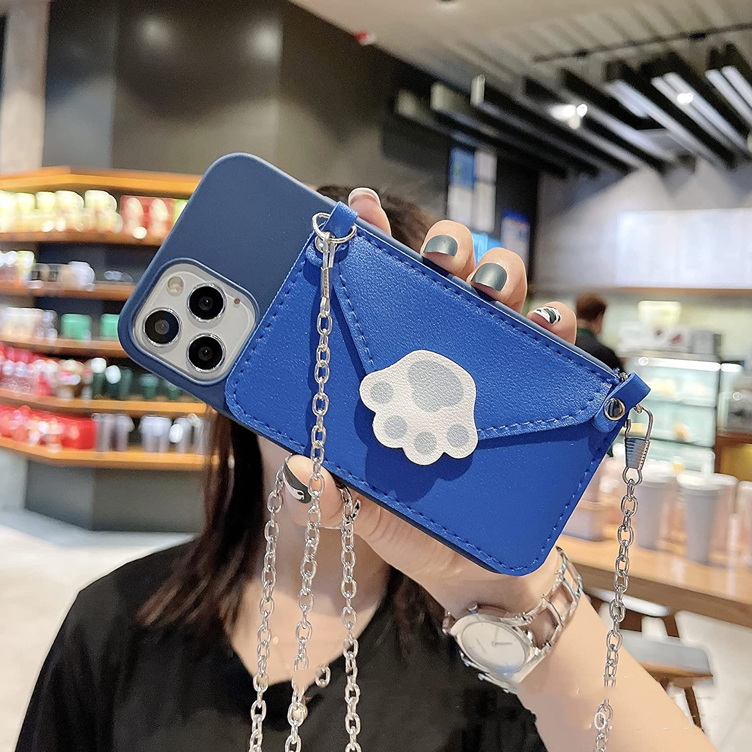 ISYSUII Crossbody Wallet Case for Samsung Galaxy A01 Leather Case Cat Footprint Pattern Cell Phone Purse with Credit Card Holder Lanyard Magnetic Soft TPU Cover for Women Girls,Blue