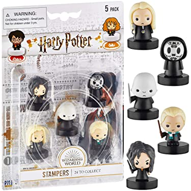 Self-Inking Harry Potter Stampers, Set of 5 – Harry Potter Gifts, Collectables, Party Decor, Cake Toppers – Death Eater, Voldemort, Lucius Malfoy and More by PMI, 2.5 in. Tall