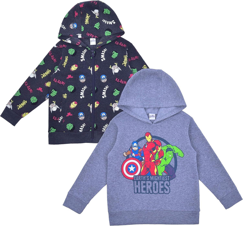 Marvel Avengers Boy's 2-Piece Zip Up Hoodie and Hooded Sweatshirt Set