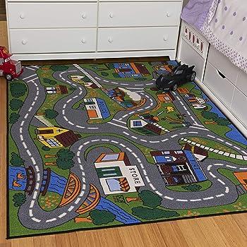 """Ottomanson Jenny Collection Kids' Non-slip City Street Design Area Rug , 3'3"""" X 5'0"""", Multicolor"""