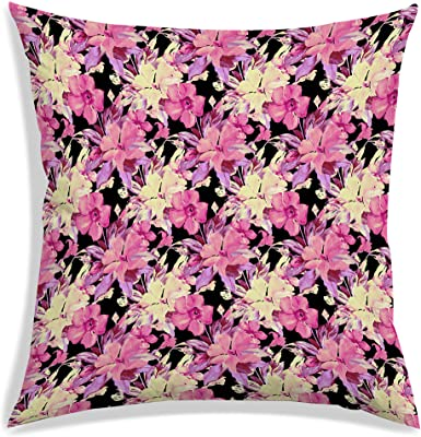 RADANYA Floral Pattern Digitally Printed Polyester Cushion Cover 12x12 inch-Insert Included