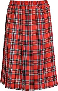 NEW LADIES TARTAN CHECK FLARED ELASTICATED PULL ON LINED SKIRT*6 COLOURS//8 SIZES
