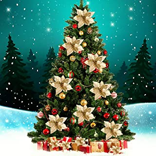 15 Pieces Christmas Glitter Artificial Poinsettia Flowers Artificial Wedding Flowers Decorations Xmas Tree Ornaments with ...