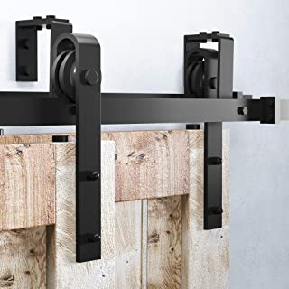 Homacer Sliding Barn Door Hardware Bypass Double Door Kit, 7.5FT Flat Track U-Shape Bracket Classic Design Roller, Black Rustic Heavy Duty Interior Exterior Use
