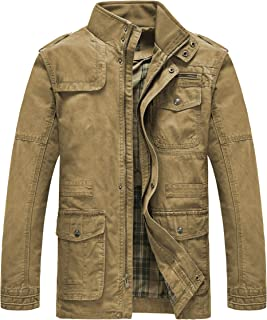 Heihuohua Men's Field Jacket Cotton Stand Collar Lightweight Military Coat