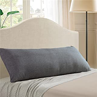 EVOLIVE 100% Cotton Pre-Washed Melange Grey Body Pillow Cover/Case 21