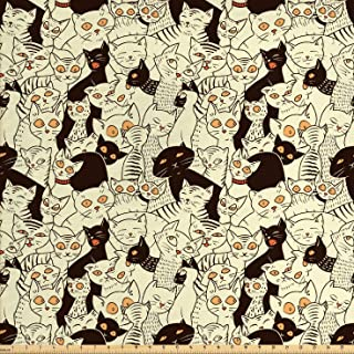 Lunarable Cat Fabric by The Yard, Modern Big Eyed Funk Style Kitties with Retro Influences Animal Graphic, Decorative Fabric for Upholstery and Home Accents, 1 Yard, Yellow Black
