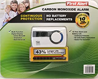 First Alert Carbon Monoxide Alar Long life 10 Year Alarm with Temperature