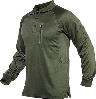 Men's Polo Shirt Zip Pocket Quick Dry Performance Long Sleeve Tactical Shirts Pique Jersey Golf Shirt