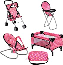 Best fash n kolor 4 Piece Doll Play Set, Includes - 1 Pack N Play. 2 Doll Stroller 3.Doll High Chair. 4.Infant Seat, Fits Up to 18