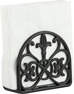 Home Basics NH44398 Cast Iron Paper Napkin Holder/Freestanding Tissue Dispenser for Kitchen Countertops, Dining, Picnic Table, Indoor & Outdoor Use, Black