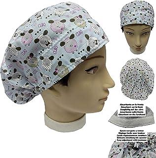 Cappello sala operatoria donna PICCOLA PECORA per Capelli Lunghi Asciugamano assorbente sulla fronte facilmente regolabile...