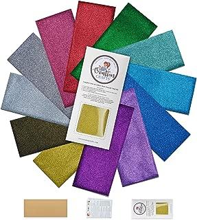 Ovation Crafts HTV Stretch Glitter Vinyl-Heat Transfer-Iron On Bundle-13 Sheets-Heat Press-Starter Kit-Variety Pack-Free Teflon and Instructions-12 x 5