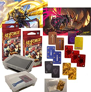 Keyforge Starter Set for 2 Players with ProApex Tokens, Play Mats, Decks,Sleeves and Carry Box