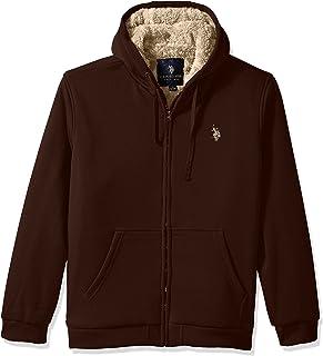 U.S. Polo Assn. 男士高大款全羊绒内衬连帽衫