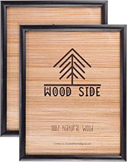 Wood Side Company 8.5 x 11 Wooden Black Picture Frames - Set of 2 - for Diploma Documents and Certificates - Wall Mounting
