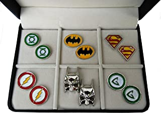 Geek & Glitter Marvel & DC Cufflink Set with a Gift Box   30 Styles to Choose from - Silver Cufflinks for Men, Birthday Presents, Comics Merchandise Collectibles, Superhero